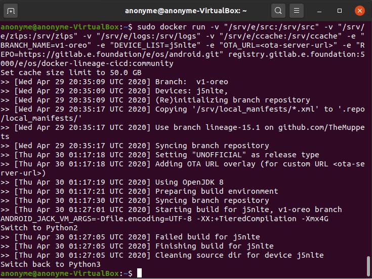 Failed Oreo build for j5nlte terminal